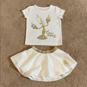 Beauty and the Beast Skirt Set NWOT